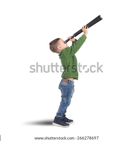 Child plays explore and discover with binoculars - stock photo