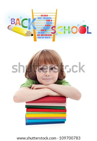 Child preparing for elementary school - isolated - stock photo