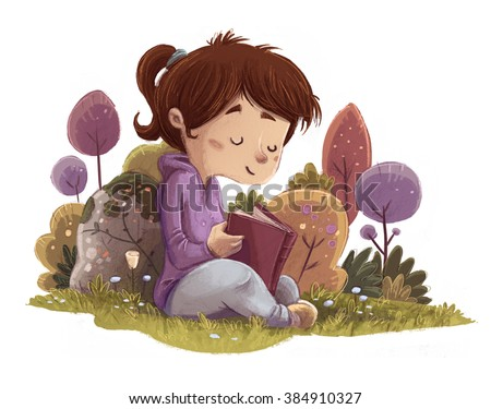 child reading a book in the field - stock photo