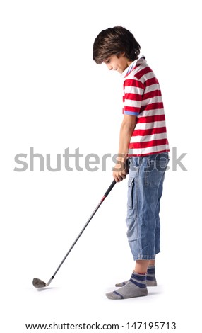 Child ready to hit golf ball with club - isolated on white - stock photo