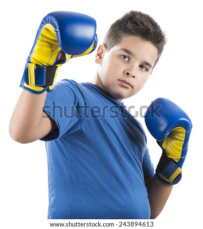 Child ready to swing left hook isolated on white background. - stock photo