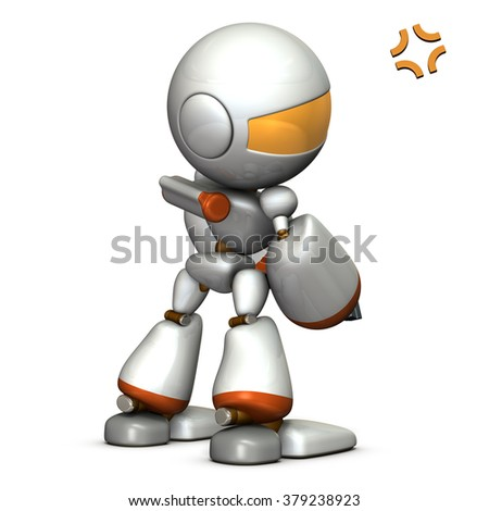 Child robot is grumpy. He is looking unsated. computer generated image - stock photo