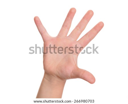 Child's arm with open palm and straightened fingers - stock photo