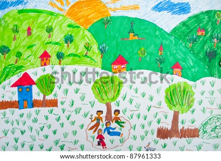 Child's drawing - stock photo