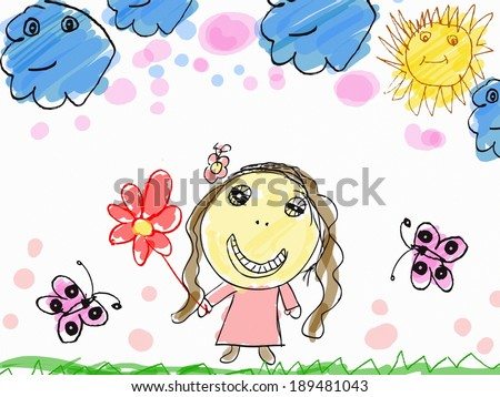 child's drawing a happy girl with flower illustration  - stock photo