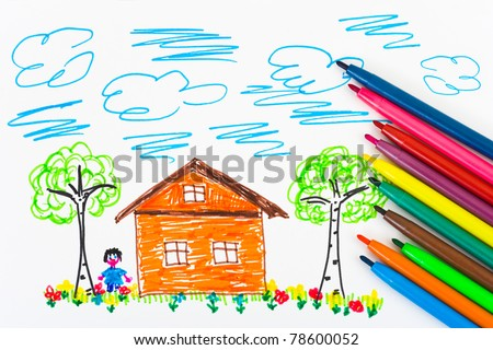 Child's drawing and pens, abstract art background - stock photo