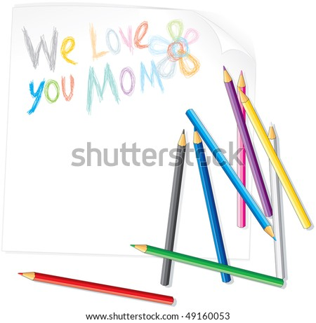 Child's drawing for Mother s day illustration - stock photo