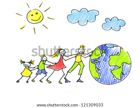 Child's drawing happy family pushes the globe - stock photo