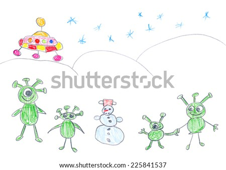 Child's drawing of alien landing on Earth in winter. Aliens have fun with a snowman.  - stock photo
