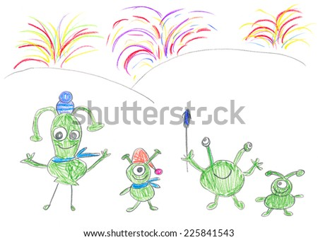 Child's drawing of Aliens celebrating happy New year. - stock photo