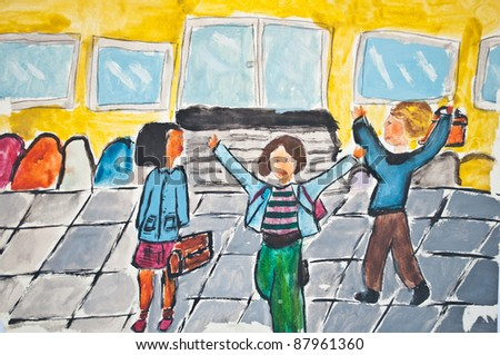 Child's drawing of children going in school - stock photo