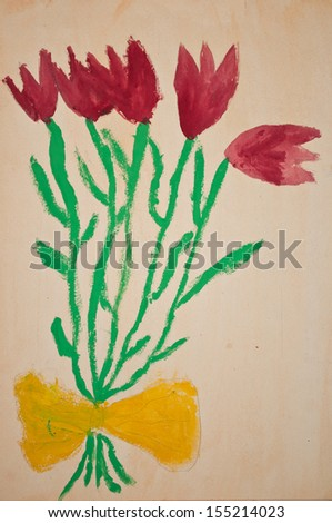 Child's drawing of flowers - stock photo