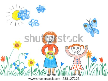 Child's drawing of girls playing with flowers on spring meadow. Beautiful day outdoor in nature. - stock photo