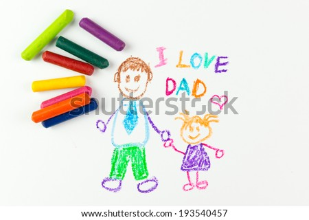 Child's drawing of happy father's day using crayon - stock photo