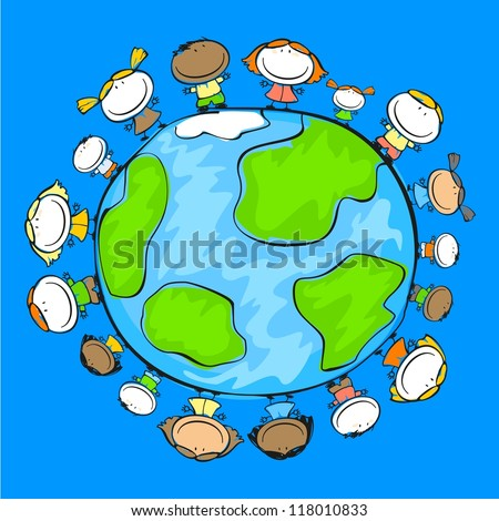 Child's drawing of happy people on the Earth (raster version) - stock photo