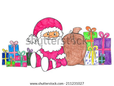Child's drawing of happy Santa Claus sitting home with many gifts for kids. - stock photo