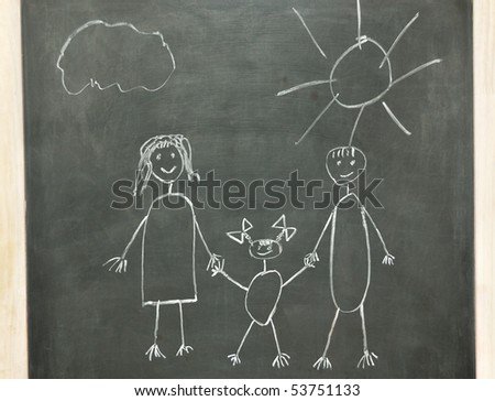child's drawing of his happy family - stock photo