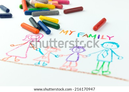 Child's drawing of my happy family using crayon - stock photo