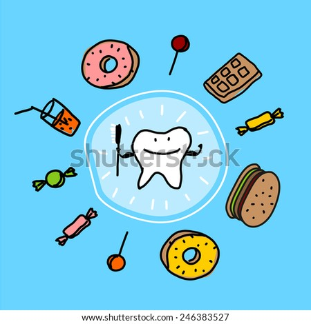 Child's drawing of well protected and healthy tooth (raster version) - stock photo