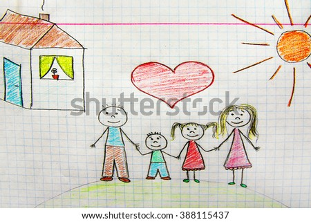 child's drawing on paper family - stock photo