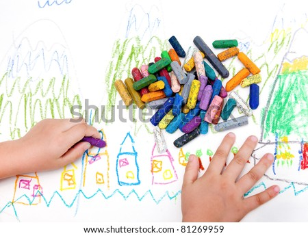 Child's drawing with colored pencils - stock photo