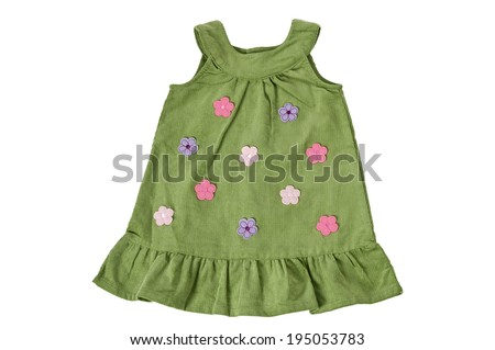 Child's green dress with flowers, isolated on white. Clipping path  included. - stock photo