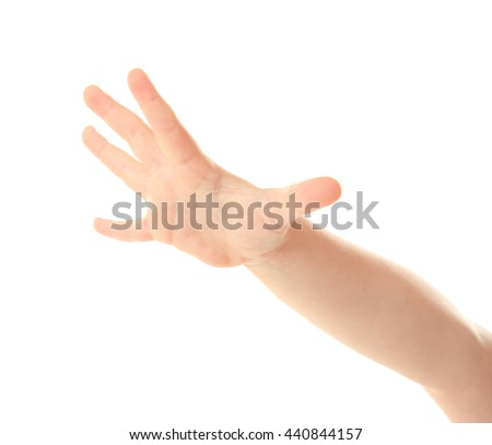 Child's hand gesturing, isolated on white - stock photo