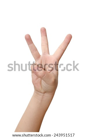 Child's hand is showing three fingers isolated on white background - stock photo