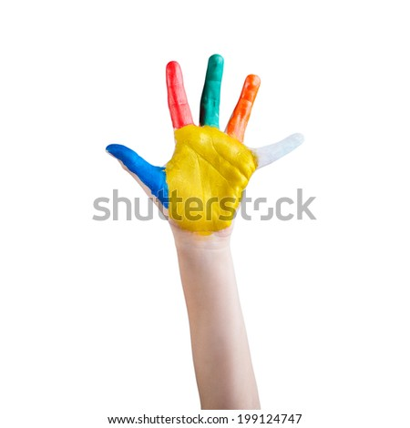 Child's hand painted with multicolored finger paints on white background - stock photo