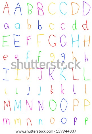 Child's Handwriting Alphabet Letters A to P - stock photo