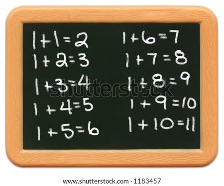 Child's mini plastic chalkboard - math equations. - stock photo