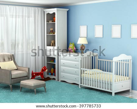 Child's room, where there is a chair, toys, furniture, flooring, frames on the wall. 3D illustration - stock photo