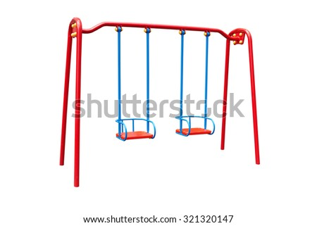 child's swing isolated on a white background - stock photo