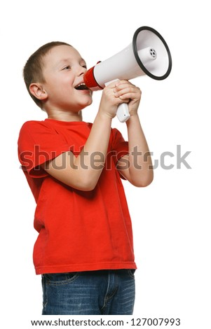 Child screaming into a megaphone - stock photo