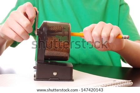 Child Sharpening Pencil (Green for easy color replacement) - stock photo