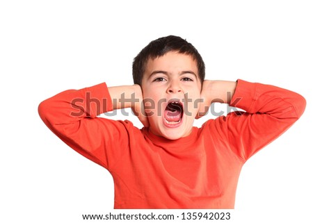 child shouting isolated on white - stock photo