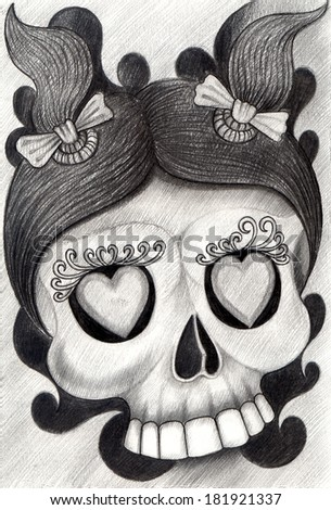 Child Skull tattoo .Hand drawing on paper. - stock photo