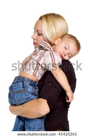 child sleeps on a shoulder for a mother on a white background - stock photo