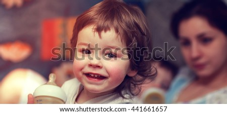child smile mother infant - stock photo