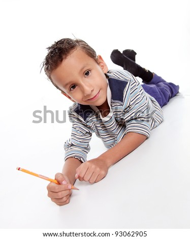 Child study and looking at the camera - stock photo