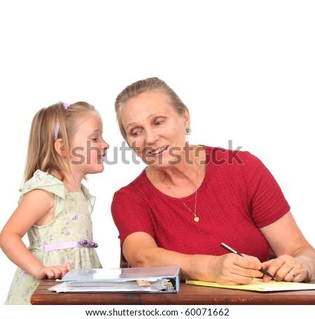 Child talking to a teacher - stock photo