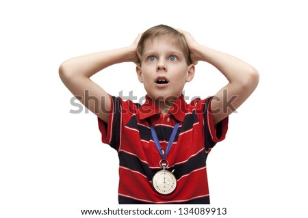 Child - the trainer worries about team, separately on a white background - stock photo