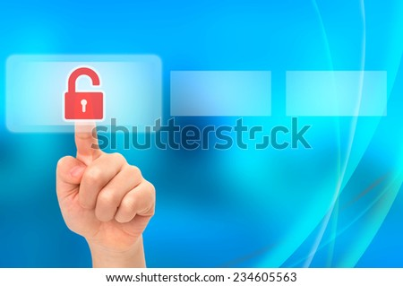 Child unlocking parental security concept on virtual touch screen - stock photo