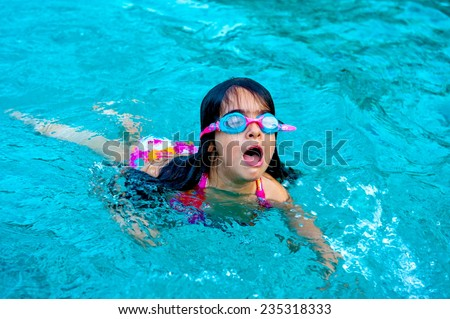 child using glasses and swimming pool - stock photo