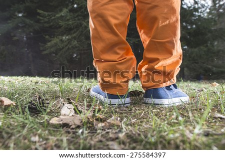 Child walking in the forest. Close up shoes - stock photo