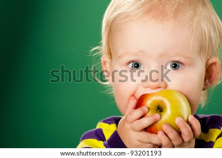 child with  apple - stock photo