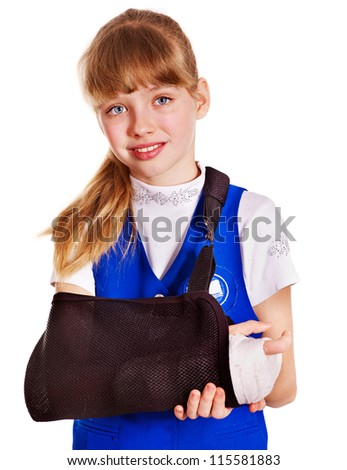 Child with broken arm. Isolated. - stock photo
