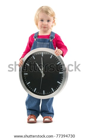 Child with clock indicant at the eleventh hour, on white background. - stock photo