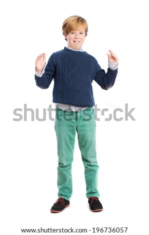 Child with disgust gesture - stock photo