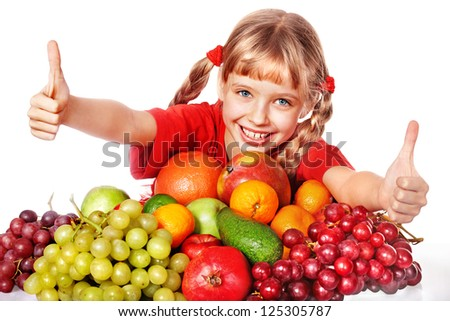 Child with group fruit and vegetable. Isolated. - stock photo